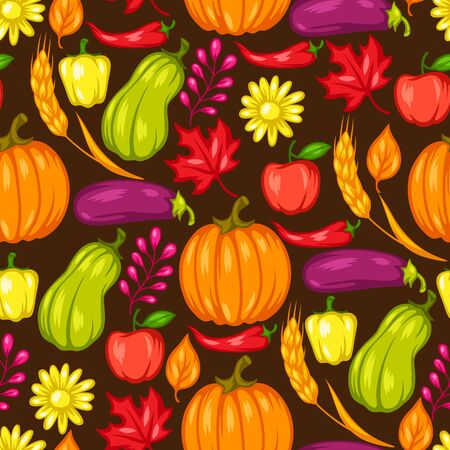 Harvest seamless pattern with fruits and vegetables. Autumn seasonal illustration. Stockfoto - 129108414