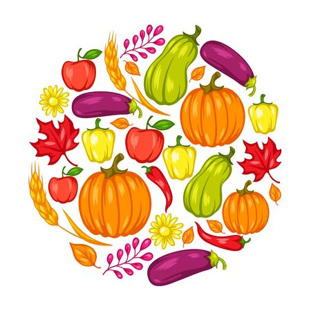 Harvest festival background with fruits and vegetables. Autumn seasonal illustration. Stockfoto - 129109232