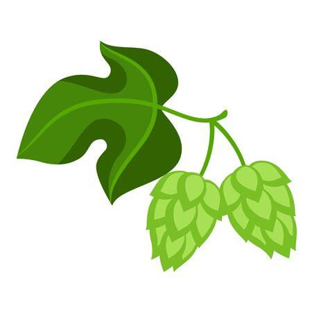 Green hops with leaf. Illustration for Oktoberfest. Ilustracja