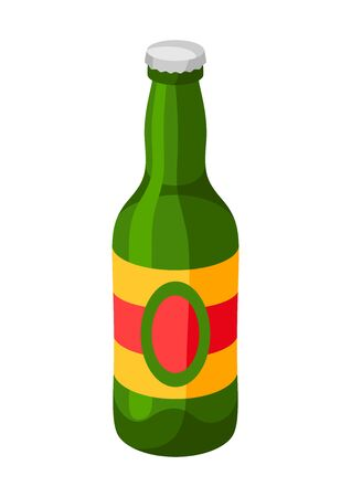 Green glass bottle with cap. Illustration for Oktoberfest. Ilustracja
