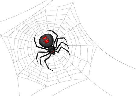 Arrière-plan avec araignée veuve noire. Bannière pour les vacances d'Halloween.