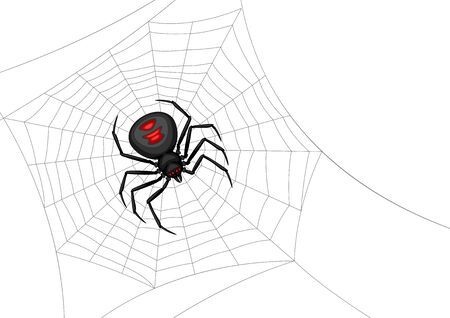 Fondo con araña viuda negra. Banner para la fiesta de Halloween.