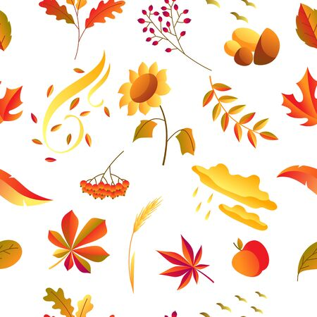 Seamless pattern with stylized autumn items. Falling leaves, berries and plants.