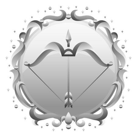 Sagittarius zodiac sign with silver frame. Horoscope symbol. Stylized astrological illustration.