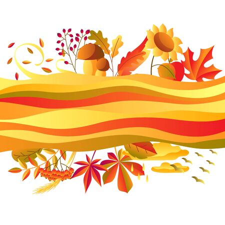 Background with stylized autumn items. Falling leaves, berries and plants. Banque d'images - 130483203