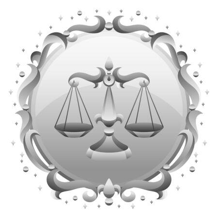 Libra zodiac sign with silver frame. Horoscope symbol. Stylized astrological illustration. Ilustracja