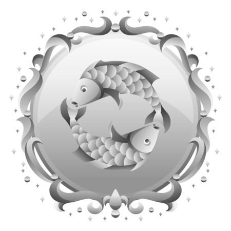 Pisceszodiac sign with silver frame. Horoscope symbol. Stylized astrological illustration.