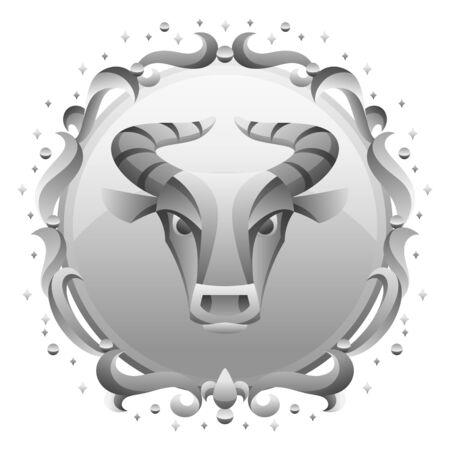 Taurus zodiac sign with silver frame. Horoscope symbol. Stylized astrological illustration. Ilustracja