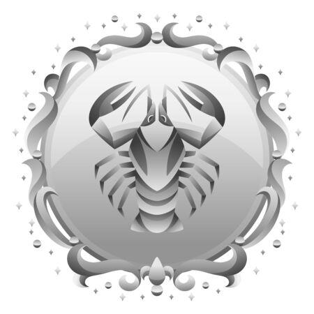 Cancer zodiac sign with silver frame. Horoscope symbol. Stylized astrological illustration.