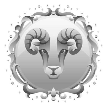 Aries zodiac sign with silver frame. Horoscope symbol. Stylized astrological illustration.