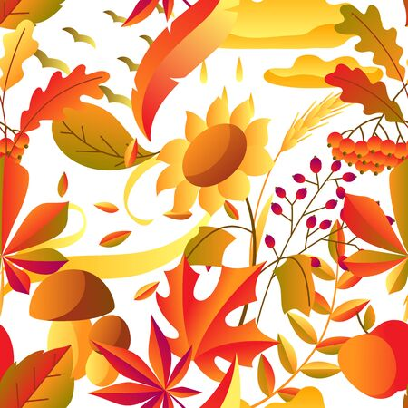 Seamless pattern with stylized autumn items. Falling leaves, berries and plants. Banque d'images - 130483425