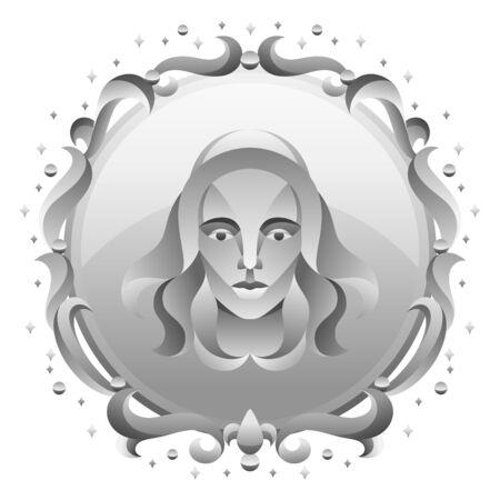 Virgo zodiac sign with silver frame. Horoscope symbol. Stylized astrological illustration.