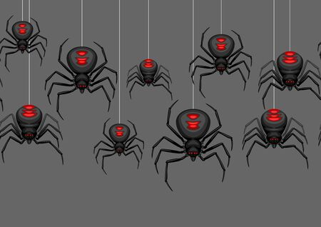 Seamless pattern with black widow spiders. Background for Halloween holiday.