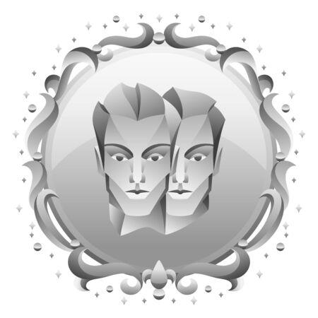 Gemini zodiac sign with silver frame. Horoscope symbol. Stylized astrological illustration. Ilustracja