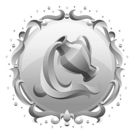 Aquarius zodiac sign with silver frame. Horoscope symbol. Stylized astrological illustration. Ilustracja