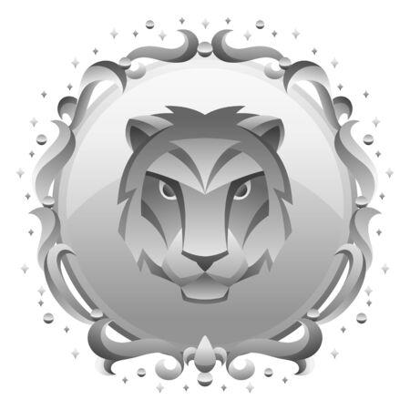 Leo zodiac sign with silver frame. Horoscope symbol. Stylized astrological illustration.