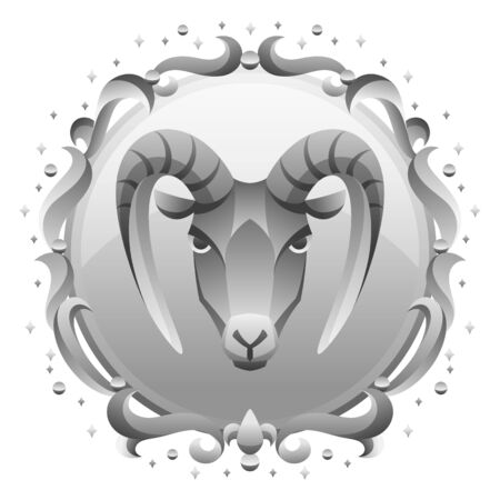 Capricorn zodiac sign with silver frame. Horoscope symbol. Stylized astrological illustration. Ilustracja