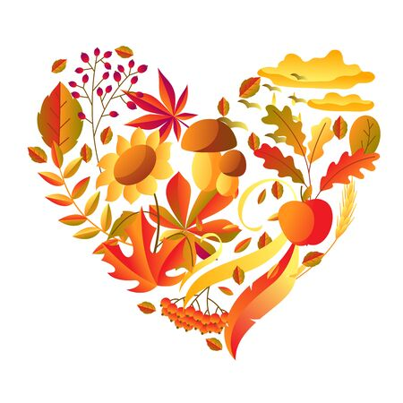 Background with stylized autumn items. Falling leaves, berries and plants. Banque d'images - 130483434
