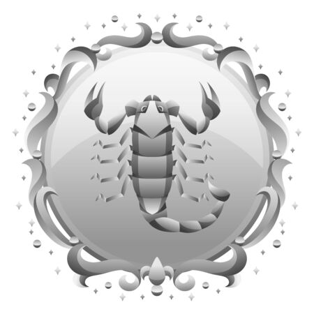 Scorpio zodiac sign with silver frame. Horoscope symbol. Stylized astrological illustration.