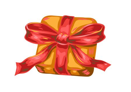 Illustration of gift box with bow. Stylized hand drawn image in retro style. Ilustracja