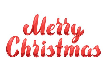 Illustration of Merry Christmas lettering. Stylized hand drawn image in retro style. Ilustracja