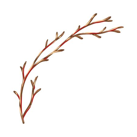 Illustration of dry branch. Stylized hand drawn image in retro style. Banque d'images - 130483443