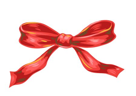 Illustration of red bow. Stylized hand drawn image in retro style. Ilustracja