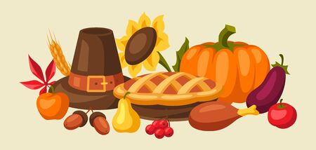Happy Thanksgiving Day background design with holiday objects.