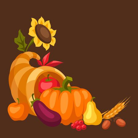 Happy Thanksgiving Day horn of plenty with seasonal fruits and vegetables. Ilustracja