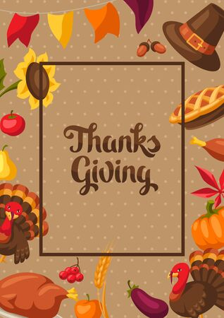 Happy Thanksgiving Day greeting card with holiday objects.