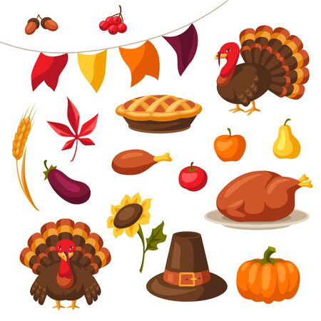 Set of Happy Thanksgiving Day holiday objects and icons. Ilustracja