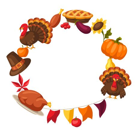 Happy Thanksgiving Day frame with holiday objects. Ilustracja