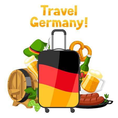 German background design with suitcase. Germany national traditional symbols and objects.