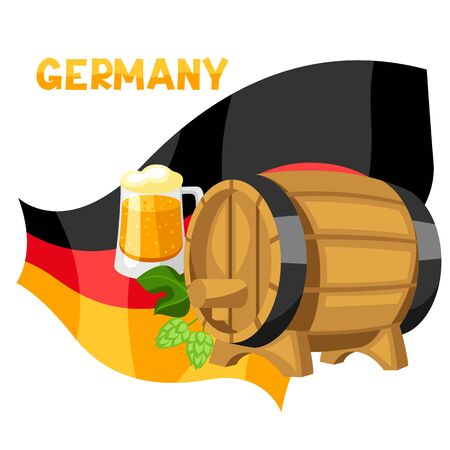 Illustration of beer and barrel on flag of Germany.