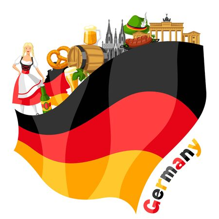 German background design. Germany national traditional symbols and objects. Ilustracja