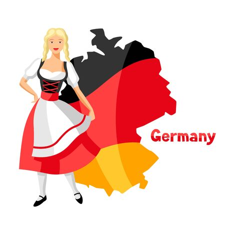 Girl in national costume of Germany on map. Traditional national symbols.