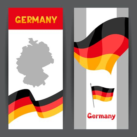 Set of banners with flags and map of Germany. Backgrounds for design.