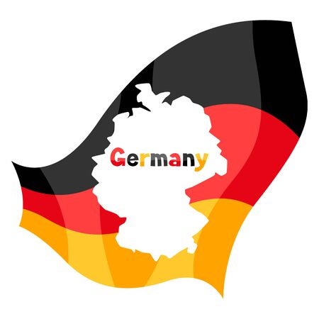 Map in the German flag. National decorative object. Ilustracja