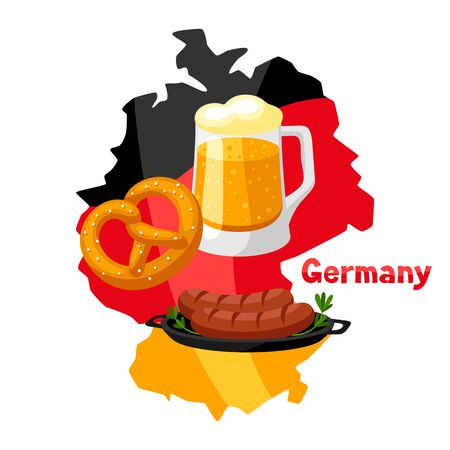 Illustration of traditional German food on map of Germany.