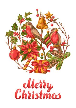 Merry Christmas invitation or greeting card. Holiday illustration in vintage style.
