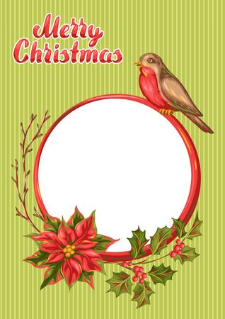 Merry Christmas frame design. Holiday decorations in vintage style. Ilustracja