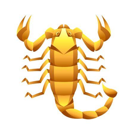 Scorpio zodiac sign, golden horoscope symbol. Illustration