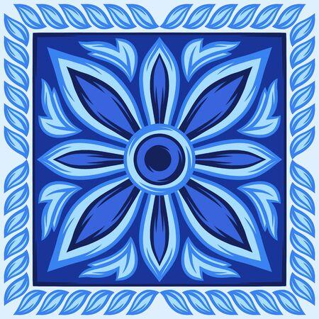 Italian ceramic tile pattern. Ethnic folk ornament. Çizim