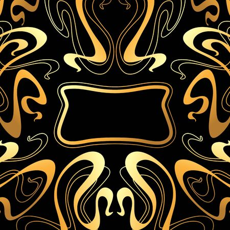 Frame with Art Nouveau ornament. Curl texture in vintage old retro style. 矢量图片