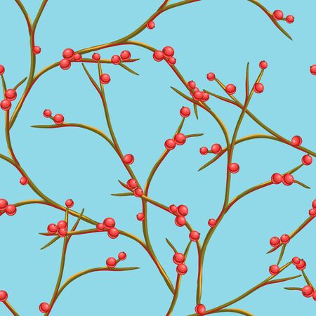 Seamless pattern with branches and berries. Stylized hand drawn background in retro style. Standard-Bild - 131246932