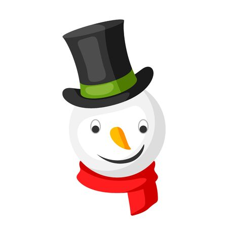 Merry Christmas snowman head in top hat. Accessory for festival and party. Фото со стока - 131246937