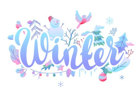 Background with winter items. New Year and Christmas objects.