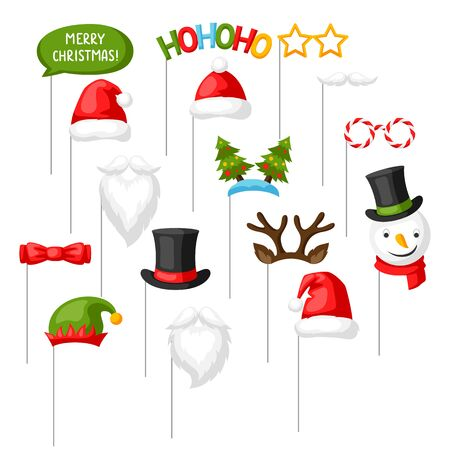 Merry Christmas photo booth props. Accessories for festival and party.  イラスト・ベクター素材