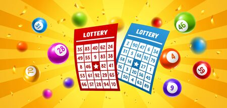 Lottery colored number balls and tickets. Background for gambling sport games.