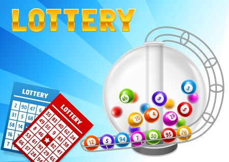 Lottery card with balls and lotto